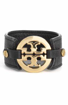 Main Image - Tory Burch Leather Logo Buckle Bracelet