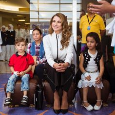 Queen Rania of Jordan visits the hospital's 'Beyond Museum Walls' program' where she sat in on an interactive educational session with children.