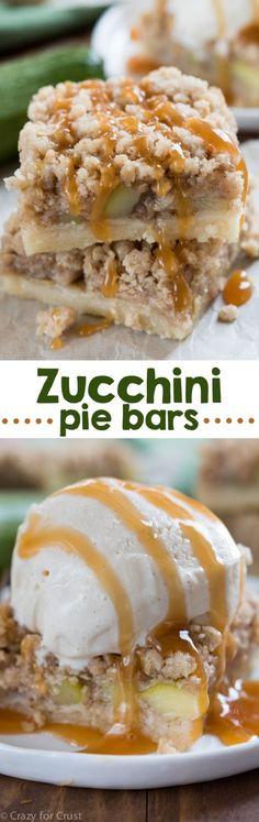 Zucchini Pie Bars! Cooking zucchini like this makes it taste like apple pie!