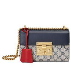 Gucci Padlock GG Supreme Small Shoulder Bag (6 680 PLN) ❤ liked on Polyvore featuring bags, handbags, shoulder bags, blue, flap handbags, white purse, shoulder bag purse, gucci purses and canvas handbags