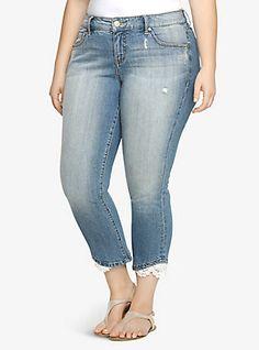 Torrid Cropped Skinny Jean - Light Wash with Crochet Lace, TRUE BLUE