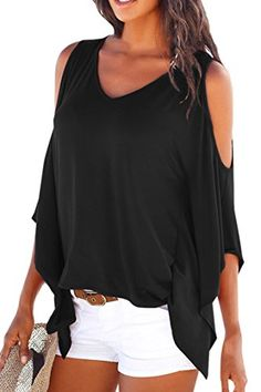 LOOK!! Pink QueenWomen's Off Shoulder Batwing Sleeve V-Neck Shirt Tops Blouse