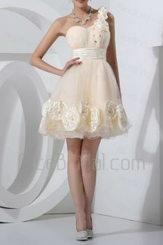 Tulle One Shoulder Short Ball Gown Cocktail Dress with Handmade Flowers - Alice Bridal