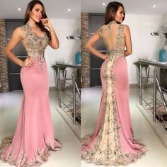 mermaid pink evening dresses long sleeveless lace appliqué beaded elegant evening gown 2020 formal dress Source by tovowuhau styles chart body shapes Pink Evening Dress, Chiffon Evening Dresses, Mermaid Evening Dresses, Evening Gowns, Lace Prom Gown, Pink Formal Dresses, Cheap Prom Dresses, Sexy Dresses, Fashion Dresses
