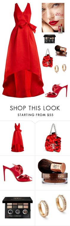"""Red Ball Gown"" by kotnourka ❤ liked on Polyvore featuring Oscar de la Renta, Emilio Pucci, Casadei, Lolita Lempicka, Vita Liberata, Bobbi Brown Cosmetics and Anna Sheffield"