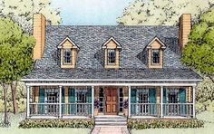Elevation of Country   House Plan 41021. Love this style and floor plan but only 1600 and missing DR
