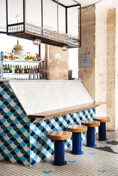 Fichon, a Fish Cellar - The Socialite Family Chips Restaurant, Deco Restaurant, Design Café, Fish Design, Commercial Design, Commercial Interiors, Restaurant En Plein Air, Outdoor Restaurant Design, Maui Restaurants