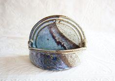 Wall Pocket Vase, Handmade Ceramic Pottery, Vintage Studio Pottery, Blue Glaze, Wall Hanging