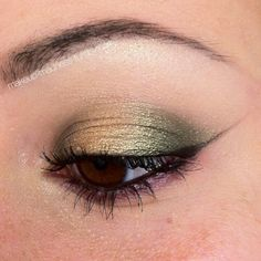 Green and gold eye look