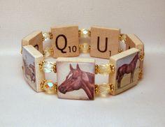 QUARTER HORSE Bracelet / UPCYCLED / Gift / Scrabble Jewelry #HORSE #QUARTER HORSE #PERCHERON #WESTERN #DRAFT #GIFT #COOL #UNIQUE