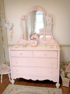 Gorgeous Pink Dresser with Tiara Mirror