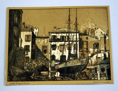 """Items similar to Vintage Lionel Barrymore """"Little Boatyard Venice"""" Gold Foil Etch Print on Etsy Black Wood, Gold Foil, Venice, Vintage Items, Vintage World Maps, Pets, Artist, Etchings, Handmade"""