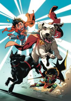 """SUPER SONS ANNUAL #1  """"SUPER-PETS UNLEASHED""""! The World's Furriest team Krypto and Titus—together at last! Tired of the boys stealing the spotlight, the doggy duo lead the Super Sons on a canine-powered epic!"""