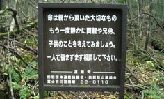 "Bosque de los suicidios, Japón. Forest of suicides, Japan. Aokigahara is a forest at the base of Mount Fuji, where more than 500 people have been killing themselves since the 50. Officials put up signs with messages such as, ""Your life is a precious gift that you did your parents"" and ""Please consult the police before you decide to die"" to deter people from committing suicide."