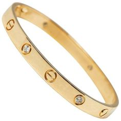 Cartier 18 Karat Yellow Gold 0.60 Carat Six Diamond Love Bracelet ($10,265) ❤ liked on Polyvore featuring jewelry, bracelets, gold jewellery, 18k gold bangles, diamond bangles, 18 karat gold jewelry and 18k bangle
