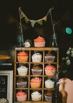 Cute cupcake display.