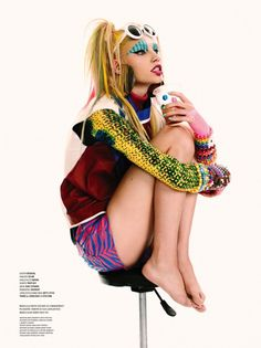 Check out Aline Weber in full club-kid gear complete with candy bracelets, or Ruby Aldridge styled to the nines in gilded Vuitton. Turn a few pages and you're greeted with the sight of River Viiperi and Maryna Linchuk as the ultimate power couple in coordinating designer looks, or if you're looking for something dangerous there's Xevi Muntane (De Facto)'s stunning shoot of Lakshmi Menon and Marina Perez as stylish dominatrixes.