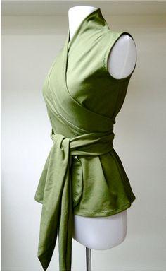 Elegant wrap shirt  organic womens clothes custom made by econica, $69.00