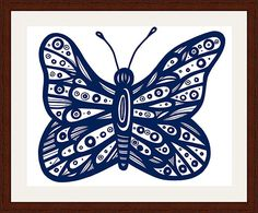 """Hunten Blue White Butterfly 22 X 28 Framed Print Walnut Stain on Oak 22"""" X 28"""" Framed Print.  Walnut Stain on Oak Wood.  High Quality.  Ready to Hang.  Frame Size: 28"""" X 34"""".  Artwork by Eddie Alfaro.  Crystal clear, elegant, and pure.  Super vivid colors in High Definition.  Art Print, Framed Art Print, Artwork, Home Decor, Interior Design, Wall Art…"""