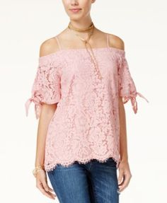 Miss Chievous Juniors' Off-The-Shoulder Lace Top #juniors #clothing #accessories #boys #womensfashion #genuine #vintage #girls #streetstyle #stylish #outfit #fashionista #fashionblogger #designers #instafashion #ootd #lookbook #beachwear #summer #newtrends #brands