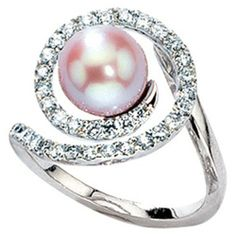 JOBO Women's Ring 585 White Gold with 1 Freshwater Pearl and 8 Diamonds Pearl And Diamond Ring, Pearl Ring, Diamond Jewelry, Queens Jewels, Fine Jewelry, Women Jewelry, Ring Verlobung, Dream Ring, Beautiful Rings