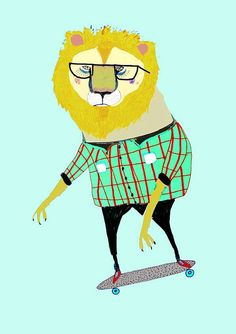 Skateboard art. The Skateboarding Lion. Limited by AshleyPercival, $30.00