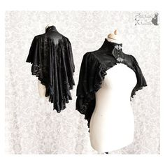 Capelet Gothic Victorian, black shrug, Steampunk, Vespertilio, Somnia... ❤ liked on Polyvore featuring home, home decor and black home decor