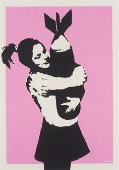 Bomb Love by Banksy / This popular and difficult-to-find work Bomb Love is one of Banksy's earliest screenprints, dating to 2004. Like many of his early prints, they were produced in small editions. The present work is one of only 150 signed and dated..