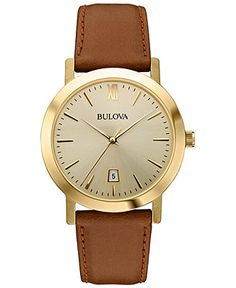 Bulova Unisex Brown Leather Strap Watch 38mm 97B135 - Men's Watches - Jewelry & Watches - Macy's