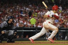 Jon Jay singles in the sixth inning against the Padres. 8-16-14