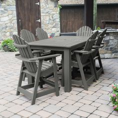 "Beautiful Patio Dining Set with oversized 72"" x 42"" Counter Height Table and 6 Adirondack Style Counter Height Chairs"