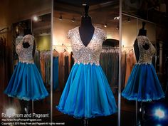 You are sure to be the talk of the party in this glamorous short peacock colored dress! Check it out at Rsvp Prom and Pageant, your source of the HOTTEST Prom and Pageant Dresses!!