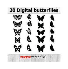 Наклейка | проектирование стен  |  домашний декор | вектор | Файл SVG | Вырезать файлы | мгновенная загрузка | бабочки  | летать