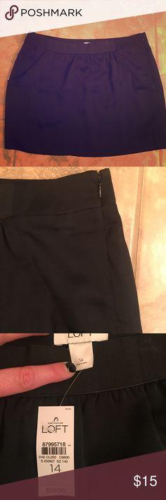 Loft black skirt. Size 14 New with tags. loft black short skirt with side zipper and pockets LOFT Skirts