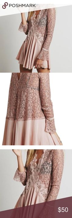 Free people Free people secret lace in place peachy  pearl color Free People Dresses Mini