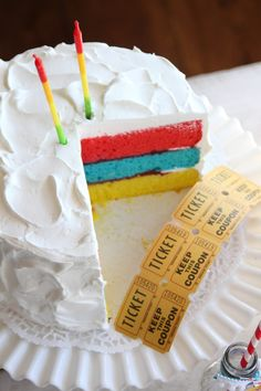 Circus Stripe Party Cake - DIY (love the colors inside!)