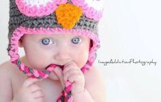Pink Owl Hat by rachelwheel on Etsy, $10.00...This is my baby Olivia <3