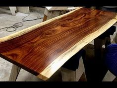 """The wood I work with is natural edge wood slabs called """"live edge"""" and my wood of choice comes from the parota tree. Because I'm working with live edge slabs."""