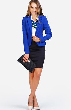 Our resolution this year is to work hard and play hard(er?)! The staple piece to checking this box off the list is the pencil skirt because it's sexy and versatile. For today's look we coordinated an outfit that can go straight from the desk to the disco. Top a fitted black pencil skirt with a cobalt blue blazer, a button down blouse and a stunning emerald stone statement necklace. Pointed toe heels and a quilted clutch add timeless sophistication.
