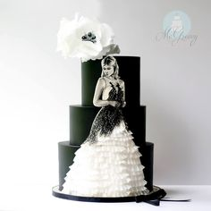 Black & White Wedding dress Cake by McGreevy Cakes
