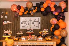 Basketball themed dessert table from a basketball birthday party on kara&am Sports Themed Birthday Party, Basketball Birthday Parties, 10th Birthday Parties, 1st Boy Birthday, Birthday Basket, Basketball Party Favors, Basketball Baby Shower, Basketball Couples, Basketball Room