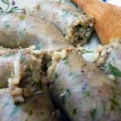 "cajun food Boudin Blanc (or ""white Boudin"") is a wonderful Cajun sausage stuffed with pork and rice. Boudin Blanc is a white sausage made with pork but no blood. The rice was meant."