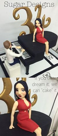 3D sculpted piano with figurines birthday cake by Sugar Designs