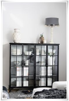 Beloved By Linda ♥: Black and Grey! Home Living Room, Living Room Decor, Ikea, Shabby Chic Homes, Apartment Design, China Cabinet, Interior Inspiration, Decoration, Interior Design