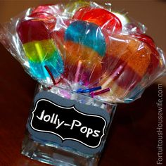 Jolly-Pops: simple & sweet treats made by placing 3 Jolly Ranchers side-by-side on a baking sheet that's been covered with foil and topped with parchment paper (be sure to leave space between pops for lollipop stick to be inserted).  Bake at 275 for about 6 minutes; remove from oven and immediately place stick into candy, rolling it a bit to ensure a good bond.  Cool and enjoy!