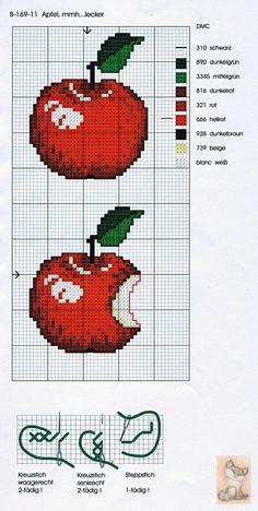 ru / Zdjęcie nr 37 - h - Cross Stitch Fruit, Cross Stitch Kitchen, Cross Stitch Bookmarks, Cross Stitch Borders, Cross Stitch Charts, Cross Stitch Designs, Cross Stitching, Cross Stitch Embroidery, Cross Stitch Patterns