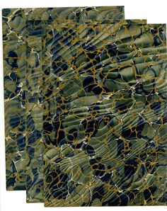This listing is for three 9 ¼ x 6 ¼ inch sheets of this lovely antique marbled paper. The style of the marble dates the paper to about 1880. They