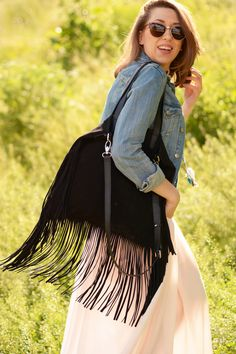 """Boho Star Tote"" Fringe Suede Leather Tote by morelebags"