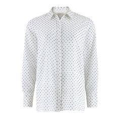 Gina Shirt in Blue Polka Dot ($54) ❤ liked on Polyvore featuring tops, long-sleeve shirt, sheer top, long sleeve collar shirt, polka dot top and sheer long sleeve top
