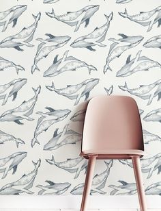Grey Whale Wallpaper, Removable Wallpaper, Self-adhesive Wallpaper, Wall Décor…